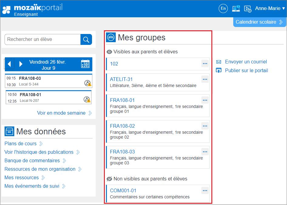 Capture d'écran de l'onglet «Mes groupes».